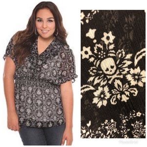 Torrid Skull and Floral Empire Waist Blouse